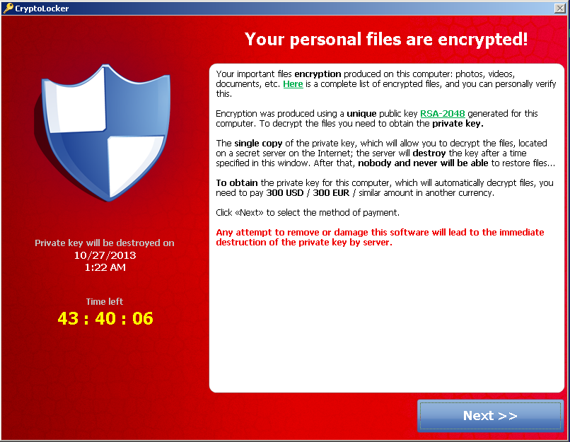 Cryptolocker Ransomware Virus
