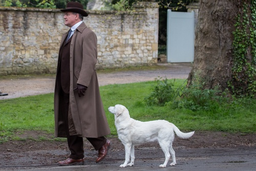 Hugh Bonneville filming Downton Abbey.