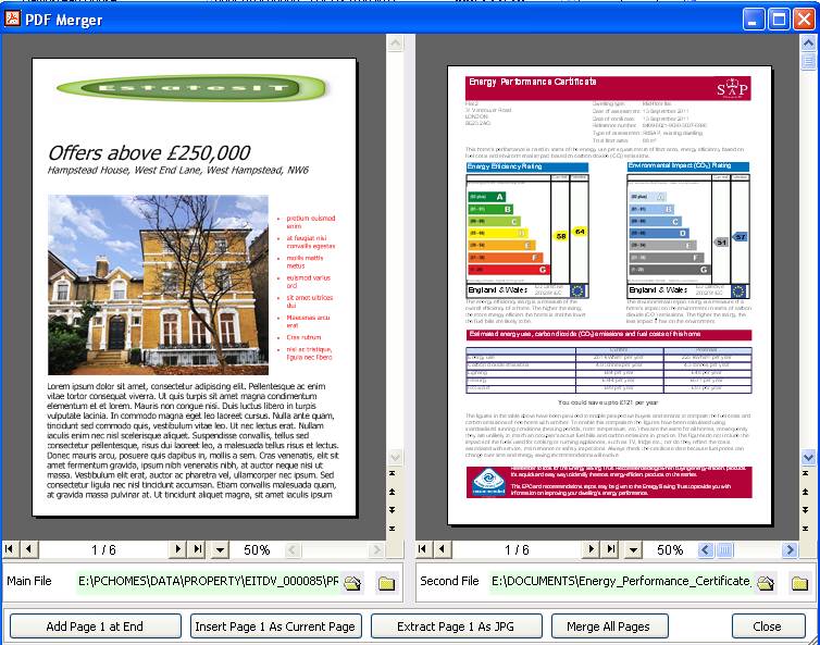 PCHomes Estate Agent Software Merge PDF for EPCs